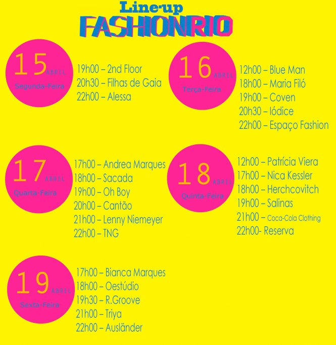 Line-up Fashion Rio 2013 14