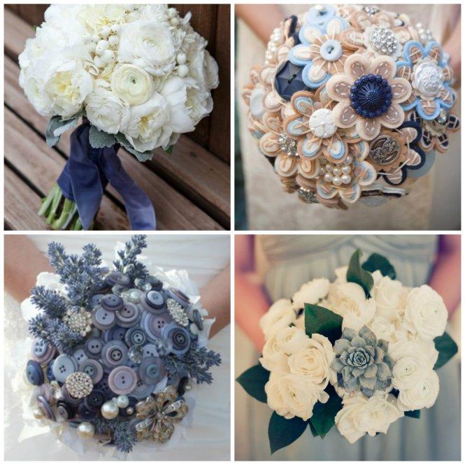 bouquet branco e azul