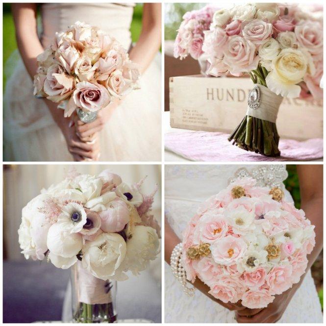 bouquet branco e rosa claro